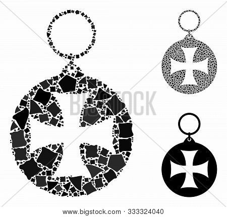 Maltese Cross Medal Composition Of Tuberous Pieces In Different Sizes And Color Tints, Based On Malt