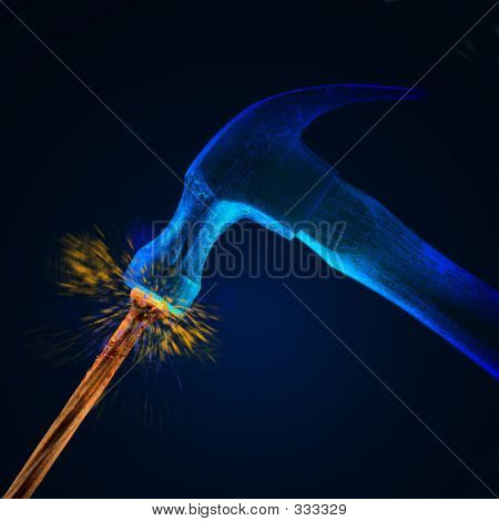Hammer Striking Nail W/sparks