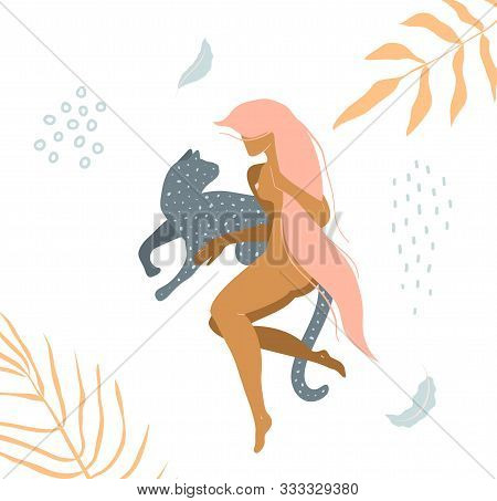 Wild Cat And Naked Woman Laying Down In Nature Apparel Print Design.