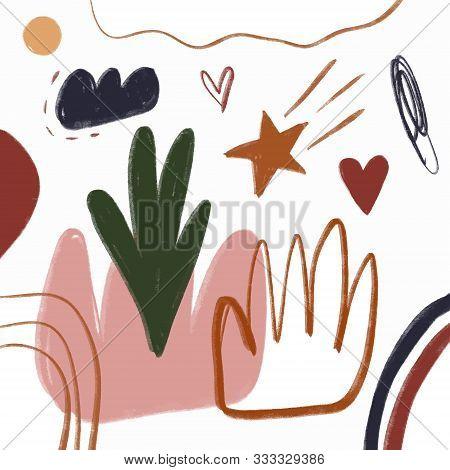 Modern Abstract Spots Shapes Terrae Modern Nursery Scandinavian Texture Poster Terracotta Art Print