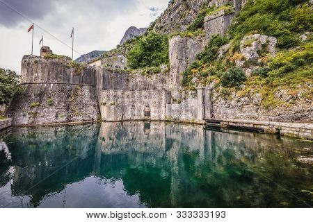 Kotor, Montenegro - May 25, 2017: Gurdic Bastion With The Etrance To Historic Part Of Kotor City