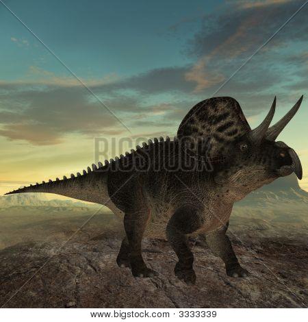 3 D Render of an Zuniceratops-3D Dinosaur poster
