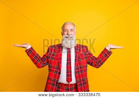 Photo Of Funny Grandpa Guy Holding Open Palms Empty Space Two Novelty Products Wear Lumberjack Suit