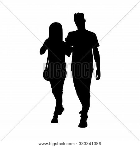 Tall Sporty Man And Woman Taking A Walk Together. Black Silhouette Isolated On White Background. Fro