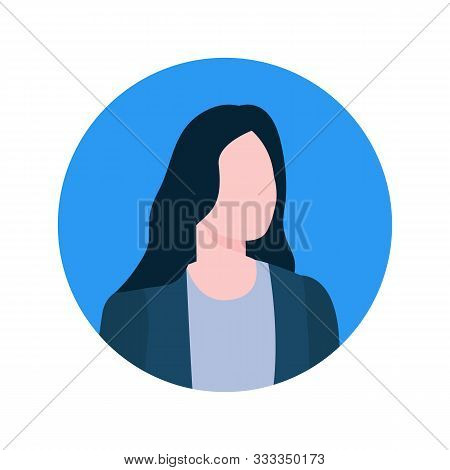 Faceless Female Online Consultant Profile View, Executive Worker Economist Character. Vector Brokers