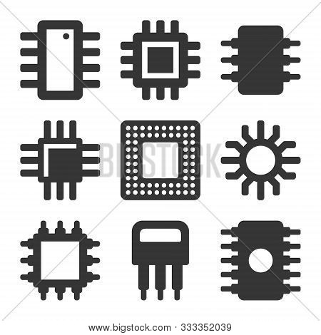 Electronic Computer Cpu Chip Icons Set. Vector
