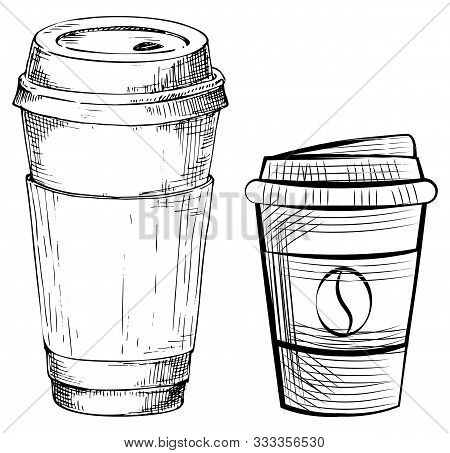 Drawing Disposable Mug With Lid, Coffee Container With Cap. Sketch Of Takeaway Dishware, Java Bean,