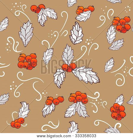 Vector Christmas Seamless Pattern With Branches Of Mistletoe. For Fabric, Wrapping Paper, Print And