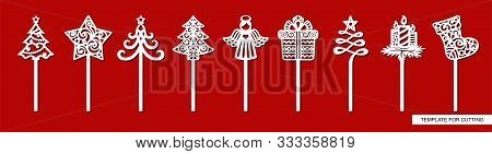 Set Of New Years Decorations - Toppers For Cakes With Christmas Tree, Star, Gift, Angel, Sock, Gift,