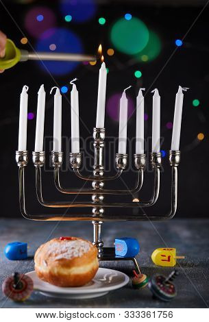 Jewish Holiday Hanukkah Background. A Traditional Dish Is Sweet Donuts. Hanukkah Table Setting A Can