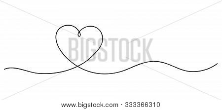 Heart. Continuous Line Art Drawing. Hand Drawn Doodle Vector Illustration In A Continuous Line. Line