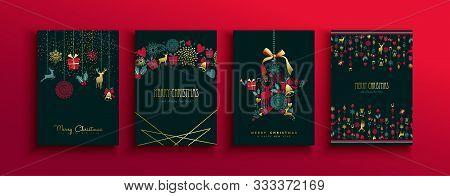 Merry Christmas Happy New Year Retro Greeting Card Set Of Elegant Gold Holiday Decoration. Luxury Vi