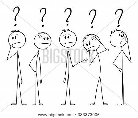 Vector Cartoon Stick Figure Drawing Conceptual Illustration Of Group Of Five Men Or Businessmen Thin