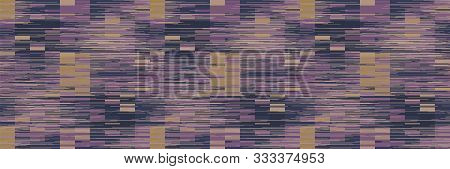 Spliced Stripe Geometric Variegated Border Background. Seamless Pattern With Woven Dye Broken Stripe