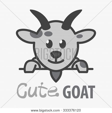 Vector Logo Of сute Funny Smiling Cartoon Goat. Modern Humorous Logo Template With Image Of The Lamb