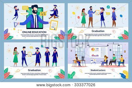 Vector Illustration Online Education, Graduation. Set Student Lecture. Administration Institution So