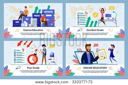 Set Banner, Written Excellent Grade, Cartoon. Online Education, Poor Grade, Express Education. Guy I