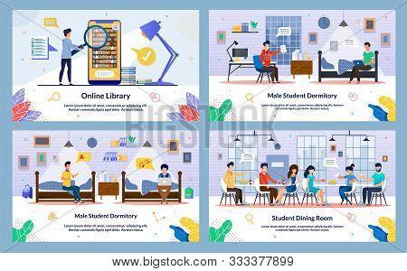 Set Vector Illustration, Online Library, Slide. Male Student Dormitory, Student Dining Room. Comfort