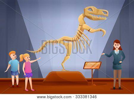 Dinosaur Excursion Museum Concept Banner. Cartoon Illustration Of Dinosaur Excursion Museum Vector C