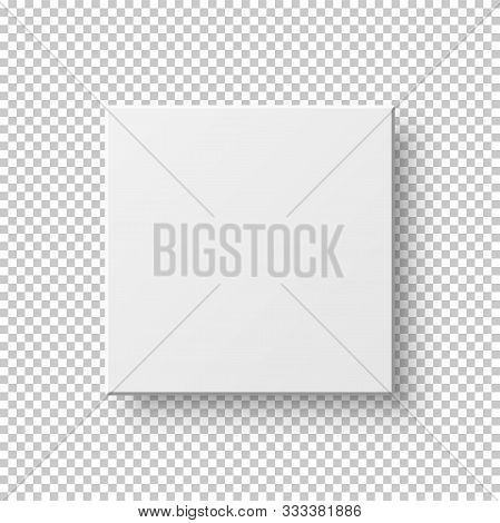 White Realistic Square Isolated On Transparent Neutral Backdrop. Empty Picture Frame. 3d Mockup Top