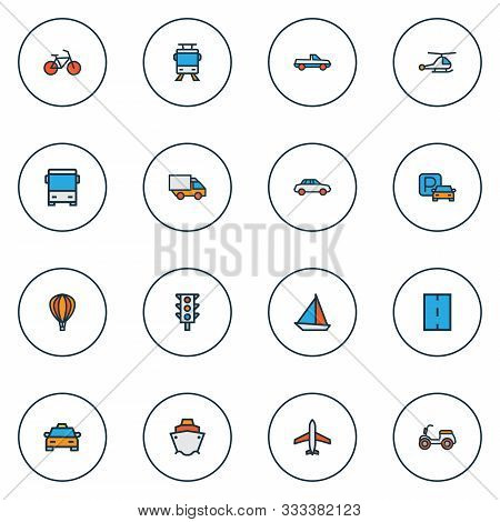Transport Icons Colored Line Set With Pickup, Tram, Traffic Light And Other Tramway Elements. Isolat