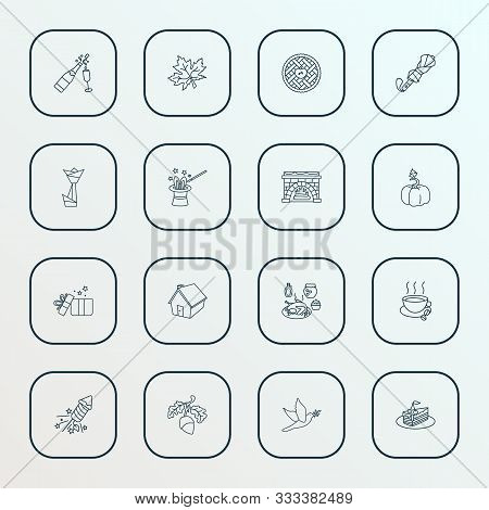 Thanksgiving Icons Line Style Set With Apple Pie, Acorn, Thanksgiving Dinner And Other Illusionist E