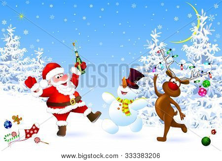 Santa, Snowman And Deer In The Winter Forest. Santa With A Bottle. Santa, Snowman And Deer Celebrate