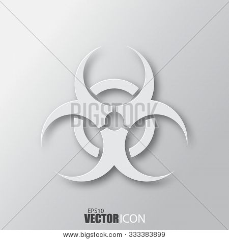 Biohazard Icon In White Style With Shadow Isolated On Grey Background.