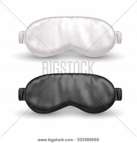 Set Of Realistic White And Black Eye Mask For Sleep Or Night Blindfold. Sleeping Accessory For Resti
