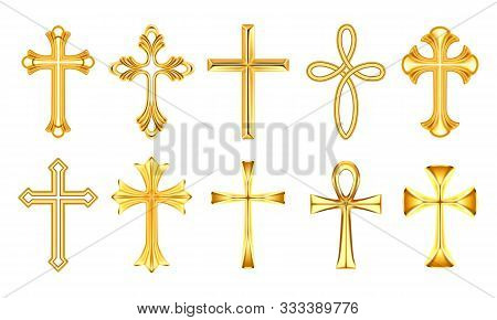 Set of realistic christian cross, religion catholic sign. Orthodox and catholicism holy symbol. Church and christianity yellow insignia. Pray and religious, faith and spirituality, God, Jesus poster