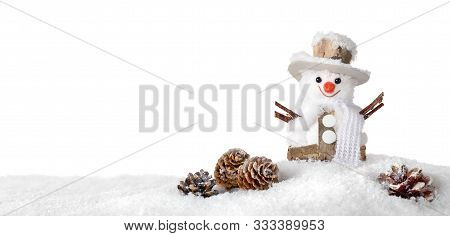 Cute Happy Snowman In The Snow, Studio Isolated On Pure White, Ideal For Christmas Or Winter Season