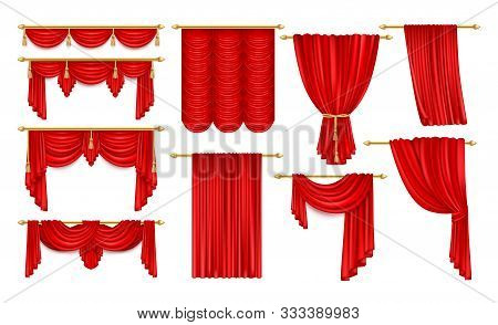 Set Of Realistic Open Red Curtain With Eaves. Velvet Theater Decoration For Stage Acting, Fabric Bac