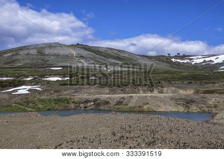 The Landscape Of Nome Alaska Where Open Pit Gold Mining Is A Big Industry.