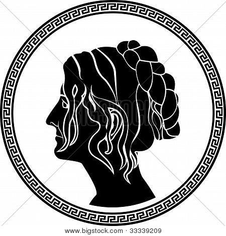 greek patrician women profile stencil