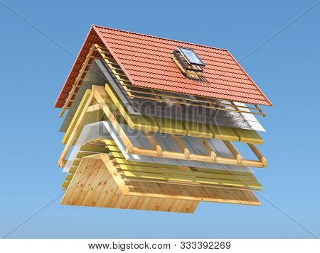 Roof cover in layers. Cross section and  technical details of  house roof. Ceramic tiles, different layers of insulation and wooden planks. 3d illustration