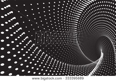 Dotted Halftone Vector Spiral Pattern Or Texture. Stipple Dot Backgrounds With White Circles