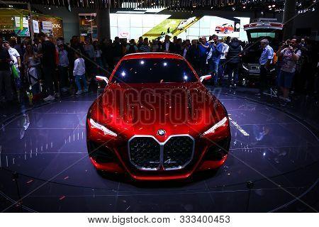 Frankfurt Am Main, Germany - September 18, 2019: Red Supercar Bmw Concept 4 At The Frankfurt Interna