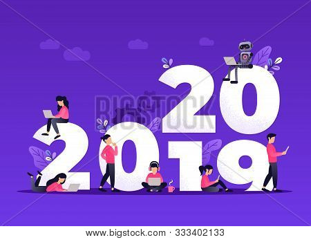 Flat Design New Year Vector Concept. Preparing To Meet 2020 New Year. Business People With The Numbe