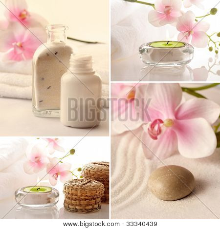 SPA still life with aromatherapy candle and orchid flowers