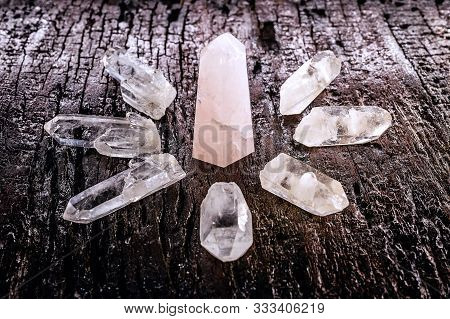Quartz Stone, Ore With Mystical Healing And Balance Properties. Rare Stone On Wood Background, Zen T