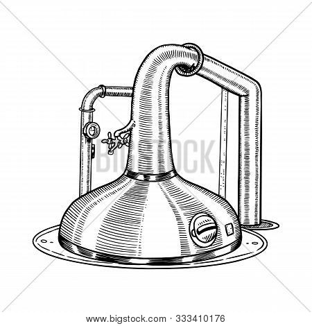 Pot Swan Necked Copper Stills Distillery For Making Alcohol. Engraved Hand Drawn Vintage Retro Sketc