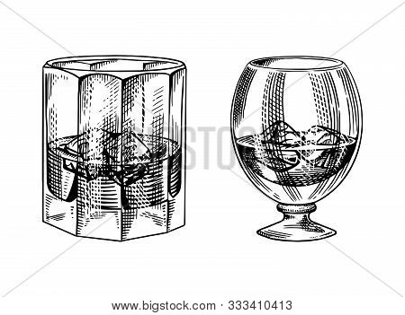 Vintage Glass Of Whiskey. Retro Strong Alcohol Drink. Hand Drawn Engraved Sketch For Poster, Retro L