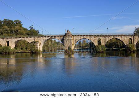 ancient roman bridge of Ponte da Barca in the north of Portugal poster