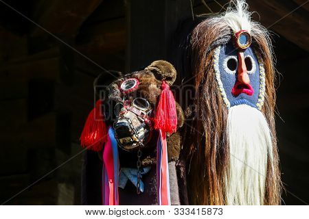 Bucharest, Romania - August 09, 2018: Traditional Masks On Household From The Village Of Sant, Bistr