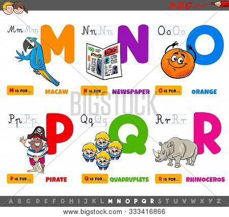 Cartoon Illustration Of Capital Letters Alphabet Educational Set For Reading And Writing Practise Fo