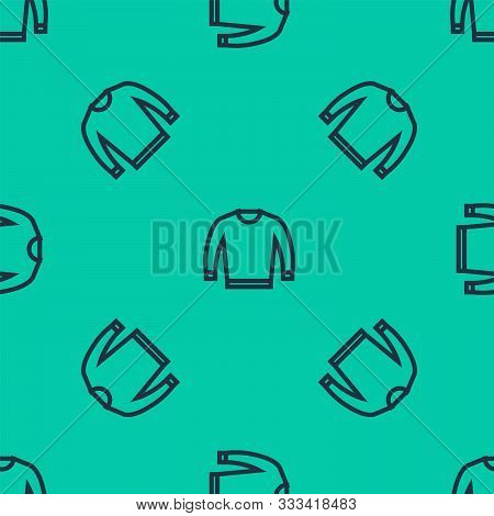 Blue Line Sweater Icon Isolated Seamless Pattern On Green Background. Pullover Icon. Vector Illustra