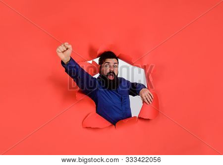 Bearded Man Looking Through Paper Hole. Breakthrough Paper Hole With Businessman. Businessman Celebr