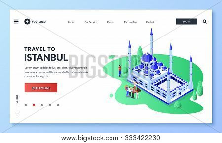 Travel To Istanbul, Turkey. Vector 3d Isometric Illustration Of Sultan Ahmad Blue Mosque, Tourist Gr
