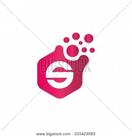 S Dots Logo Design Template. Hexagon S Icon. S Letter Logo Vector. Hexagon Logo, S Letter, S Dots, S