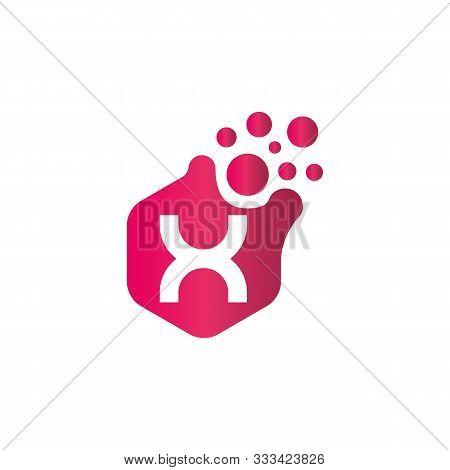 X Dots Logo Design Template. Hexagon X Icon. X Letter Logo Vector. Hexagon Logo, X Letter, X Dots, X